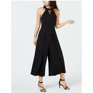 Thalia Sodi Womens Wide-Leg Jumpsuit Black Stretch